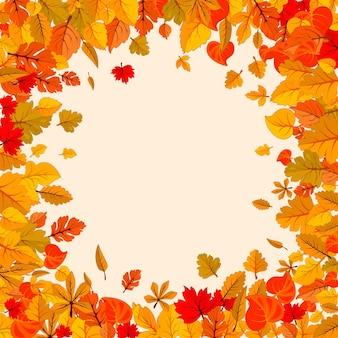 Folhas de outono caem fundo isolado modelo de pôster dourado de outono