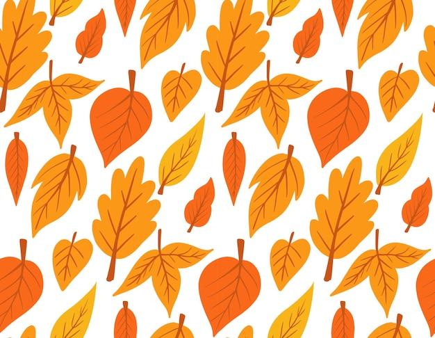 Folhas de outono caindo folhas sem costura padrão impressão ilustração vetorial