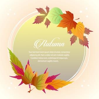 Folhas de outono cartão meio sazonal redondo texto