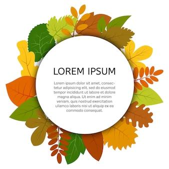 Folhas de outono coloridas sob rótulo redondo branco. cartão de vetor com folhas amarelas isoladas em fundo branco