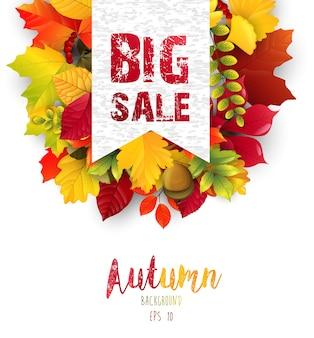 Folhas de outono com banner de vendas