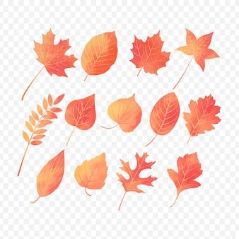 Folhas de outono com efeito aquarela