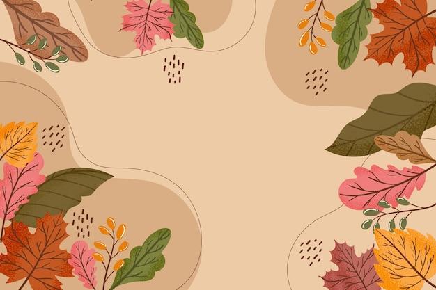 Folhas de outono de design plano papel de parede
