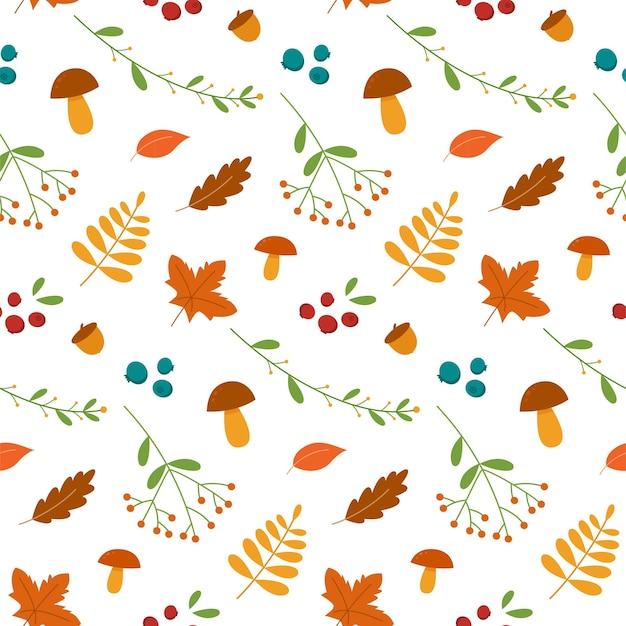 Folhas de outono de padrão uniforme, cogumelos e bagas