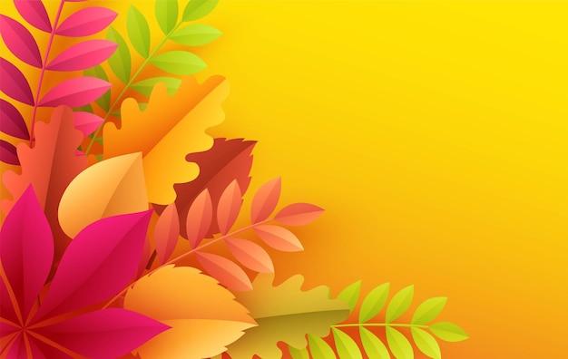 Folhas de outono de papel com fundo colorido