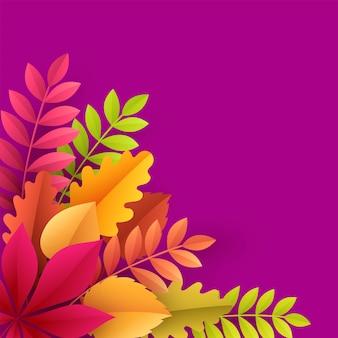 Folhas de outono de papel fundo colorido.
