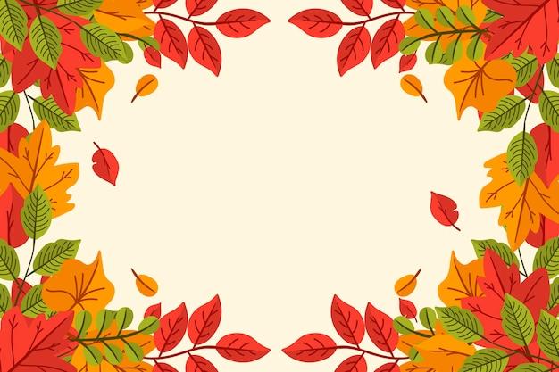 Folhas de outono desenhadas à mão fundo com espaço vazio