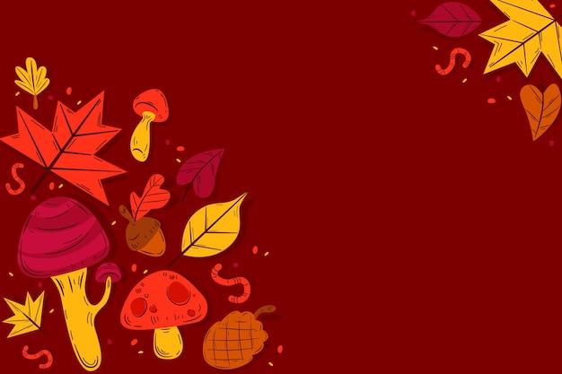 Folhas de outono design plano fundo com espaço de cópia