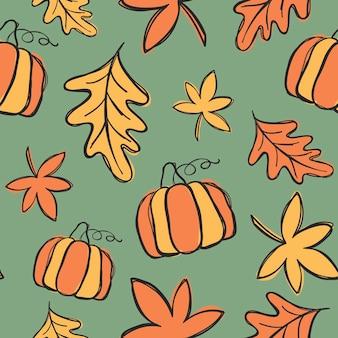 Folhas de outono e abóboras doodles, padrão sem emenda de vetor