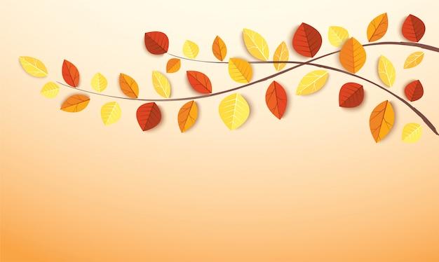 Folhas de outono e espaço para escrever o plano de fundo