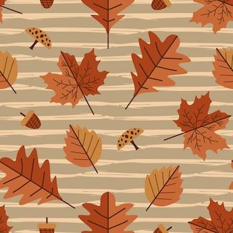 Folhas de outono e vintage padrão sem emenda de folhagem