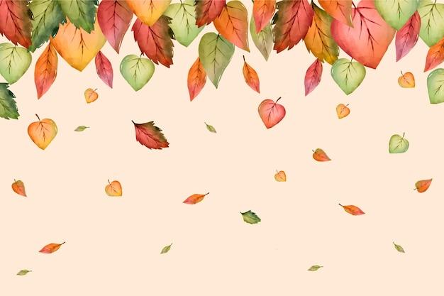 Folhas de outono em aquarela caindo