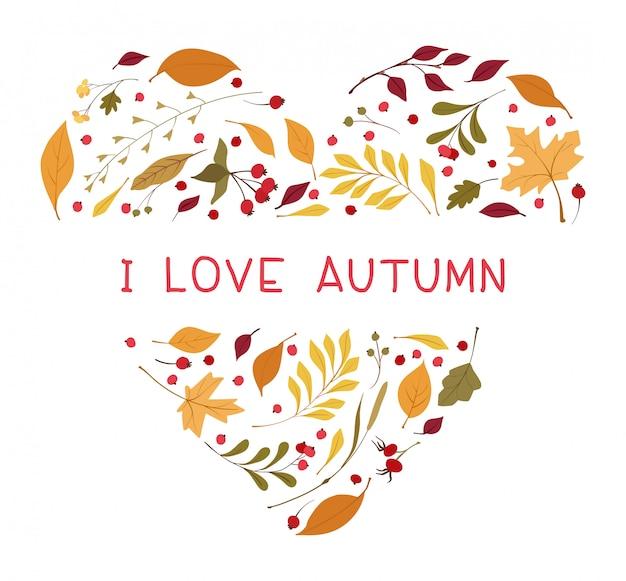 Folhas de outono em forma de coração plana vector frame.