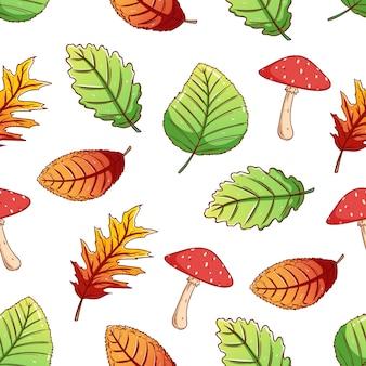 Folhas de outono em padrão sem emenda com estilo de desenho colorido sobre fundo branco