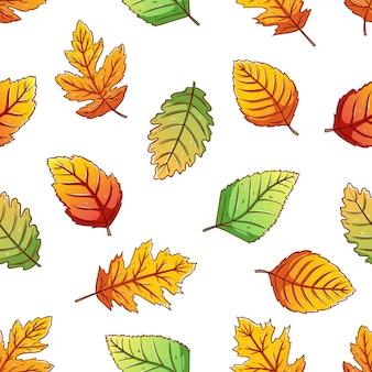 Folhas de outono em padrão uniforme com estilo de desenho colorido