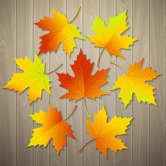 Folhas de outono em textura de madeira