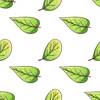 Folhas de outono fofas padrão sem emenda com estilo desenhado à mão em fundo branco