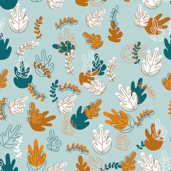 Folhas de outono folha abstrata mão desenhada sem costura padrão