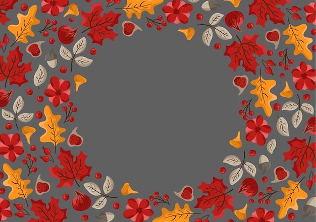 Folhas de outono, frutas, bagas e abóboras bordas de fundo