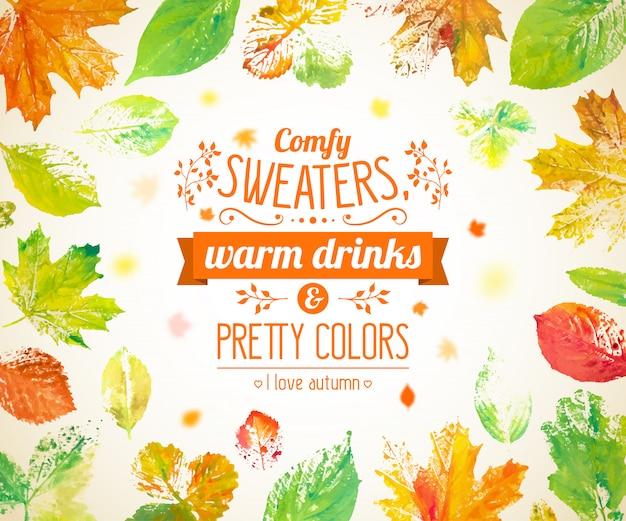 Folhas de outono fundo com letras e mão desenhado em aquarela queda