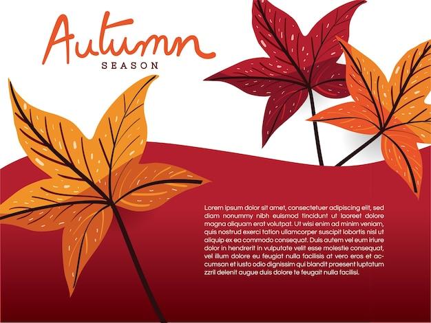 Folhas de outono no modelo de fundo branco e vermelho