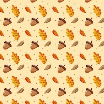 Folhas de outono padrão e bolotas