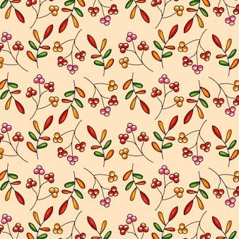 Folhas de outono padrão e frutas vermelhas
