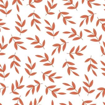 Folhas de outono padrão sem emenda aconchegante com ouro laranja. fundo bonito para têxteis, papel de embrulho. ilustração em vetor mão desenhada dos desenhos animados.