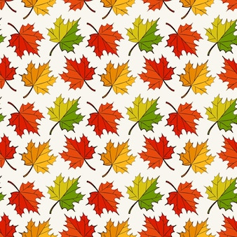 Folhas de outono padrão sem emenda com bordo colorido.