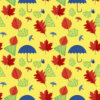 Folhas de outono padrão sem emenda com guarda-chuva
