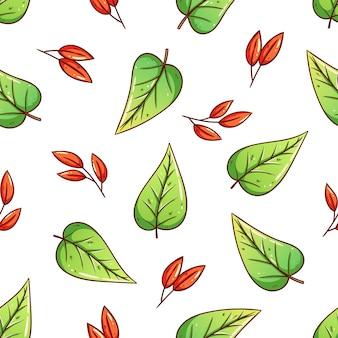 Folhas de outono padrão sem emenda usando fundo desenhado à mão