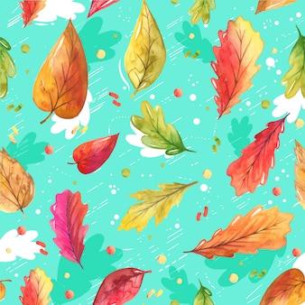 Folhas de outono pintados à mão em estilo aquarela