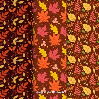 Folhas de outono planas coleção padrão