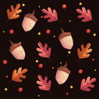 Folhas de outono, plantas, folhagem e ilustração padrão de nozes