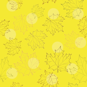 Folhas de outono sem costura - fundo amarelo brilhante