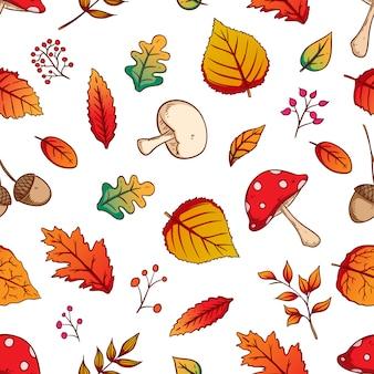 Folhas de outono sem costura padrão com estilo colorido mão desenhada no fundo branco