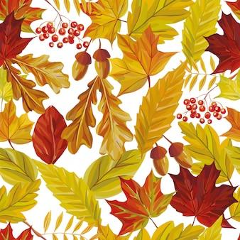 Folhas de outono sem costura padrão papel de parede