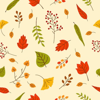 Folhas de outono sem costura padrão para papel de parede