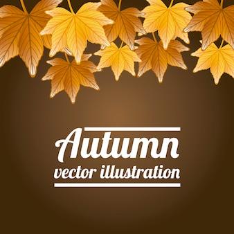 Folhas de outono sobre ilustração vetorial de fundo marrom