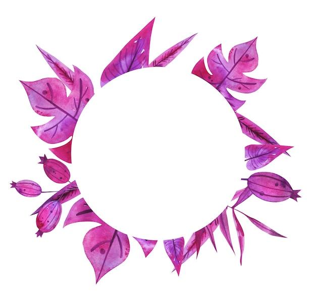 Folhas de palmeira aquarela desenhadas à mão roxa e rosa, moldura de coroa de flores de quadril rosa