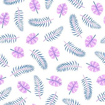 Folhas de palmeira brilhantes padrão sem emenda de vetor