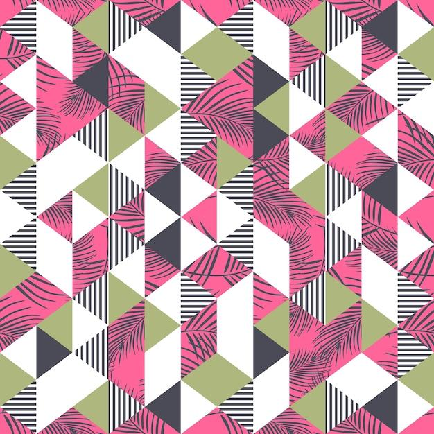 Folhas de palmeira coloridas e padrão de triângulo