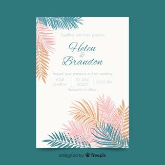 Folhas de palmeira de cor pastel, modelo de convite de casamento