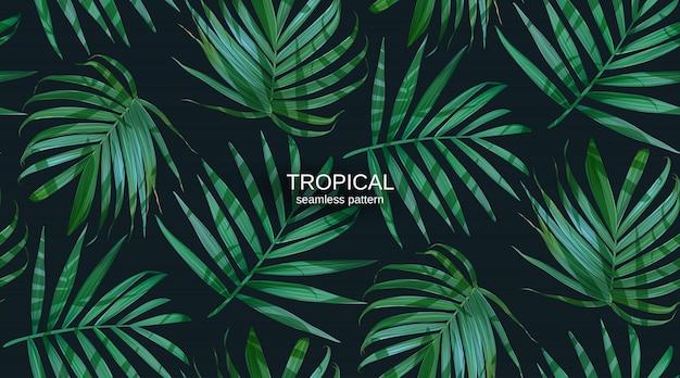 Folhas de palmeira de vetor folhas padrão sem emenda.