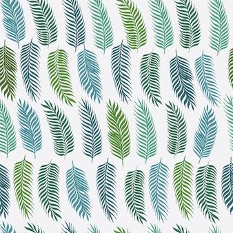 Folhas de palmeira desenhada de mão em fundo branco. padrão sem emenda. ilustração tropical.