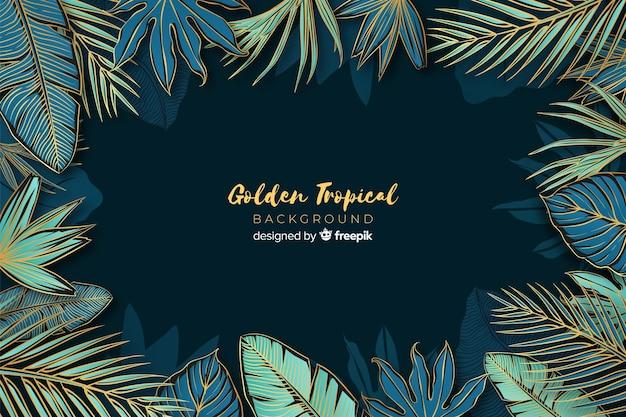 Folhas de palmeira dourada casamento convite