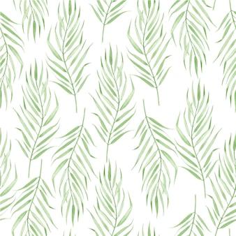 Folhas de palmeira em estilo boho. aquarela sem costura padrão