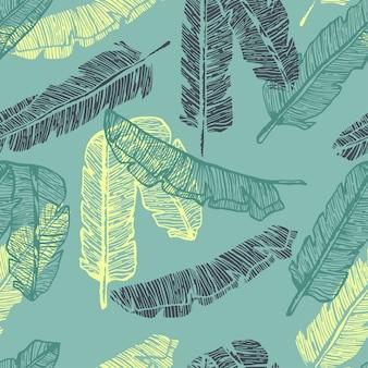 Folhas de palmeira linha colorida mão desenhada sem costura padrão