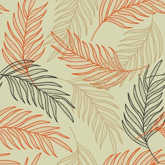 Folhas de palmeira linha mão desenhada sem costura padrão Vetor Premium
