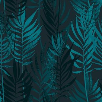 Folhas de palmeira mão desenhada com padrão sem emenda de textura.